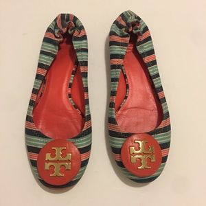 TORY BURCH Reva Fabric Flat Shoes Size 8 1/2